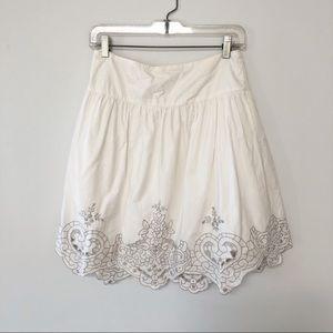 Vintage feel embroidered gathered skirt